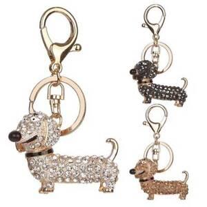 Dog-Dachshund-Stylish-Crystal-Key-Chain-Pom-Gift-Women-Girl-Bag-Charm-Pendant