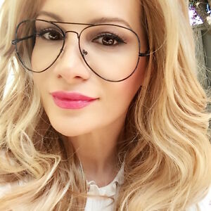 Large Sexy Aviator Thin Black Metal Wire Frame Clear Lens