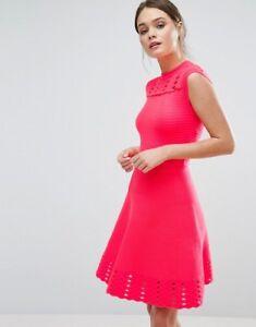 e06e93940ef3 Image is loading NWT-Ted-Baker-Zaralie-Jacquard-Skater-Dress-Orange-