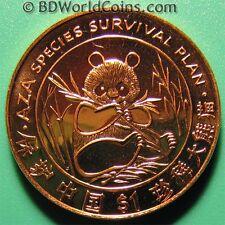 1997 LIBERIA $1 DOLLAR AU/BU LUSTROUS PANDA BEAR BAMBOO AZA SPECIES RED COPPER