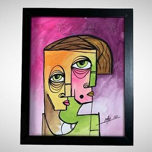 PAINTING-ORIGINAL-ACRYLIC-ON-CANVAS-PANEL-FRAME-INCLUDED-8-X10-By-LISA