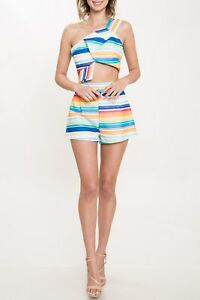 96ad456c673fc Image is loading Rainbow-Striped-Colorful-Two-Piece-Matching-Short-and-