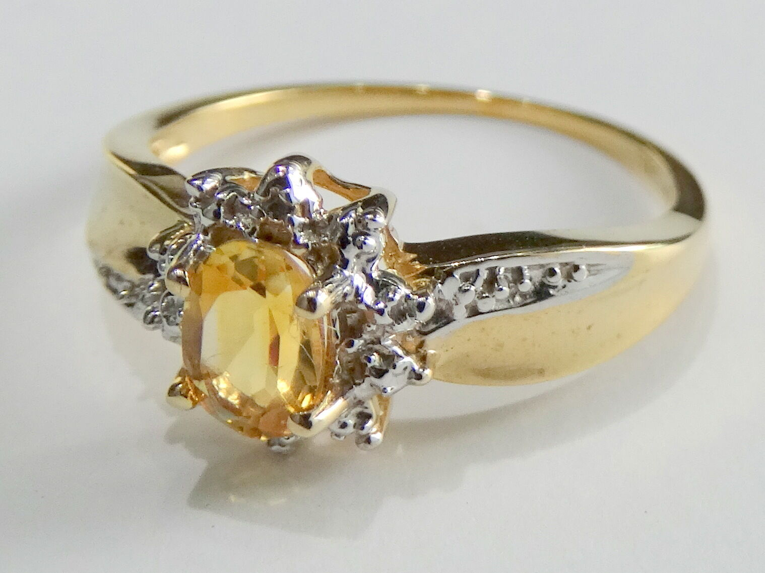 Genuine Birthstone 10k gold Diamond Citrine Engagement Wedding Ring November