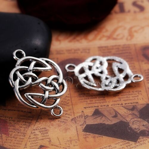 20 Or 50PCs Celtic Knots Antiqued Silver Plated Connector Charms C0719-10