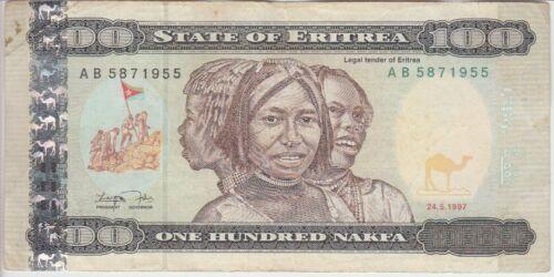 "Eritrea banknote P6 100 Nakfa 1997 prefix AB F  /""WE COMBINE/"""