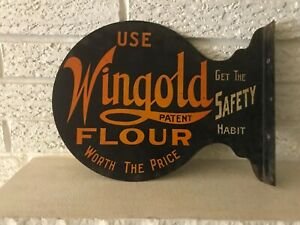 EARLY RARE VINTAGE WINGOLD FLOUR FLANGE ADVERTISING SIGN WINONA MINNESOTA MN