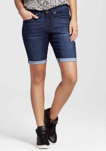 00 Size Mossimo Women/'s Mid Rise Bermuda Denim Jean Shorts Dark Wash