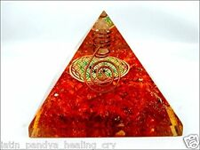 Orange Onyx Flower of Life Orgone Pyramid Christmas Tower Buster Piezo Electric