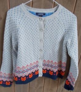 95a99f2ab87 Lands End Off White Blue Polka Dot Cotton Blend Cardigan Fox Heart ...