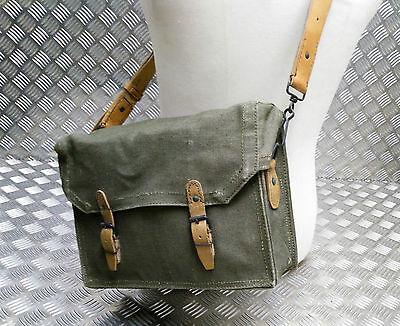 Genuine Vintage Military Issue Green Leather Shoulder Strap For Satchel Side Bag