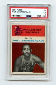 1961 Fleer Wilt Chamberlain RC #8 - PSA 5 (New Label)   CENTERED!!!  Very rare.