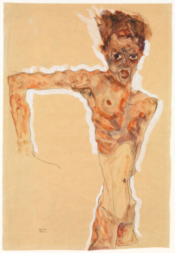 Self Portrait Egon Schiele Drawing Reproductions Fine Art Print