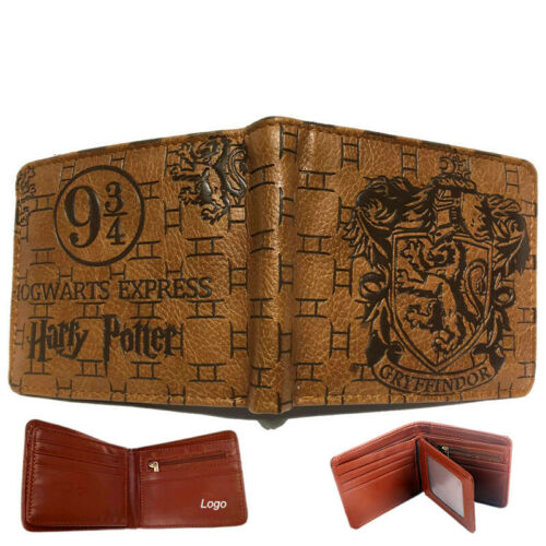 Hogwarts School Wallet Short Bi-fold ID Cards Coin Leather Brown Embossing Purse