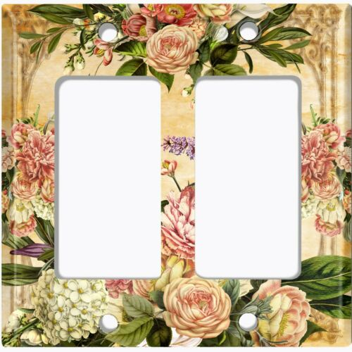 Metal Light Switch Cover Wall Plate Pretty Pink Rose Frame Flower ROS026