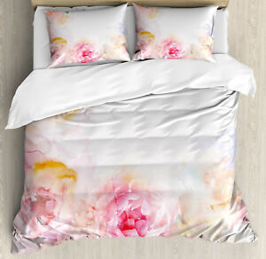Shabby-Chic-Duvet-Cover-Set-with-Pillow-Shams-Pale-Pink-Roses-Print