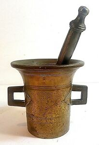 ANTIQUE-19TH-CENTURY-APOTHECARY-SOLID-BRASS-MORTAR-amp-PESTLE