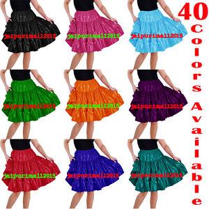 Women-Girl-Satin-4-Tiered-Short-Mini-Dress-Skirt-Ruffle-Pleated-Belly-Dance-Jupe