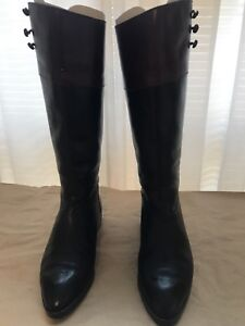 Classic-Joan-amp-David-Two-Tone-leather-Riding-Boots