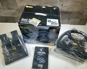 Mad-Catz-Dual-Force-Racing-Wheel-amp-Pedal-for-Playstation-PS1-PS2-in-Box