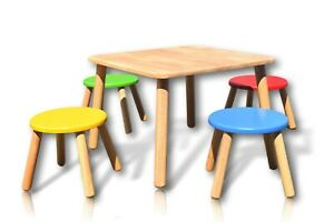 Pintoy-Bright-Colour-Nursery-Playroom-Wooden-Furniture-Kids-Table-amp-4-Chairs-Set