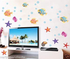 Das Bild Wird Geladen Wandtattoo Fisch Meer Ozean Wandaufkleber Kinderzimmer  Bad Wand