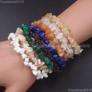 Handmade-5-8mm-Mixed-Natural-Gemstone-Chip-Beads-Stretchy-Bracelet-Healing-Reiki