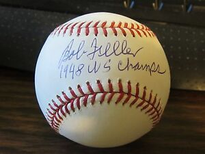 Bob-Feller-Autograph-Signed-Baseball-Cleveland-Indians-1948-WS-Champs