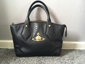 18b205e2efd Image is loading vivienne-westwood-black-snakeskin-print-bag-with-gold-
