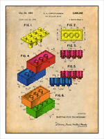1961 Lego Toy Building Blocks Patent Print Colorized Art Drawing Poster 18x24