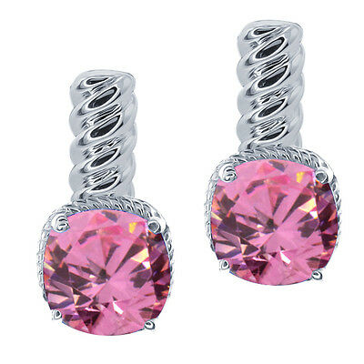 1.68 Ct Fancy Pink 925 Sterling Silver Earrings Made With Swarovski Zirconia