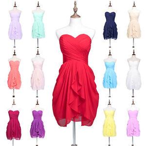 Damen Kurz Ballkleider Partykleid Chiffon Heimkehrkleid Brautjungfer Abendkleid Ebay
