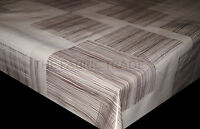 WIPE CLEAN OVERLAP BEIGE SQUARES PVC TABLECLOTH VINYL OILCLOTH FABRIC COVERING