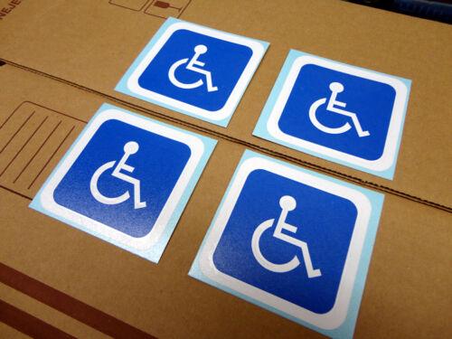"""each is 2.7x2.7/"""" Wht//blue Handicap Wheelchair Nursing bumper sticker set of 4"""