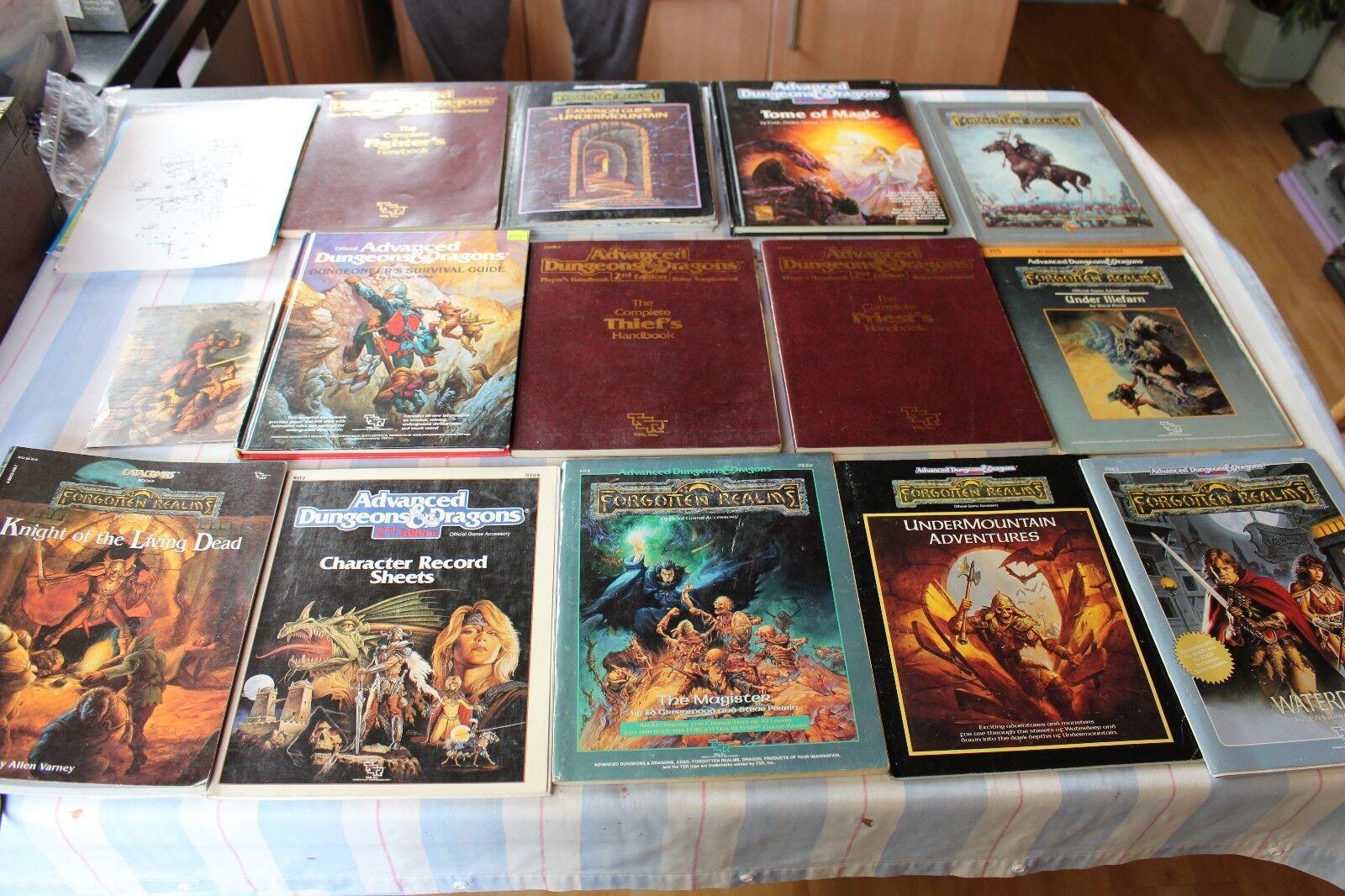 Advanced Dungeons y dragones Libros Trabajo Lote expansiones 1990s agregar Cochegas de reglas de TSR