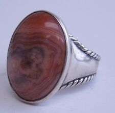 CAROLYN POLLACK RELIOS STERLING SILVER PINK LACE AGATE WIDE RING SIZE 11