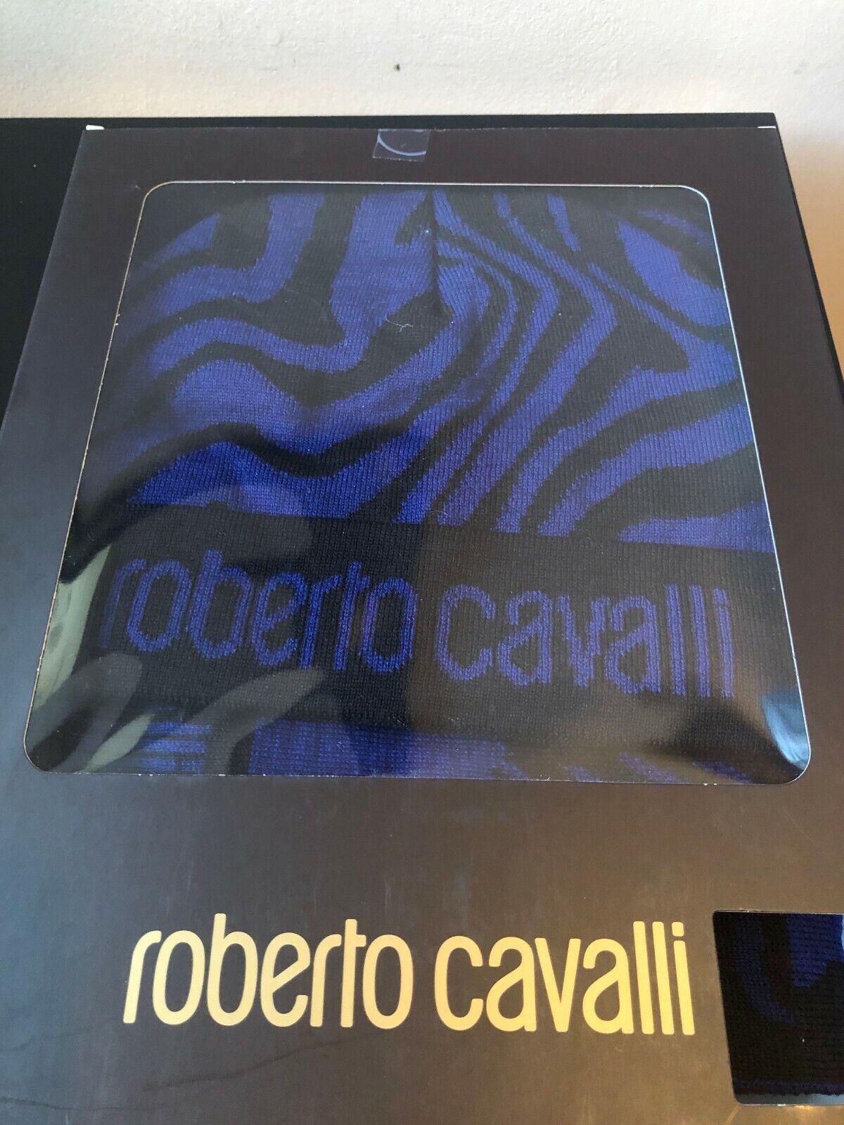 NEW ROBERTO CAVALLI WOOL BLACK BLUE BEANIE HAT SCARF SET WRAP SHAWL