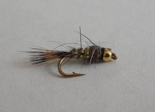 One dozen 12 Bead Head Hare/'s Ear Nymph size 16 fishing flies