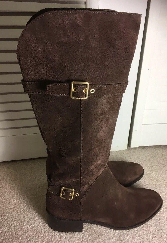Cole Haan braun Suede Leather Tall Riding Stiefel Größe 11B Buckle Zip Up