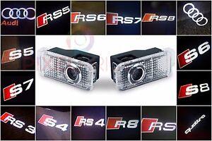 AUDI-2X-LED-PROJECTOR-LIGHT-LOGO-EMBLEM-ACCESSORY-CAR-DOOR-BRIGHT-LIGHTS-SERIES