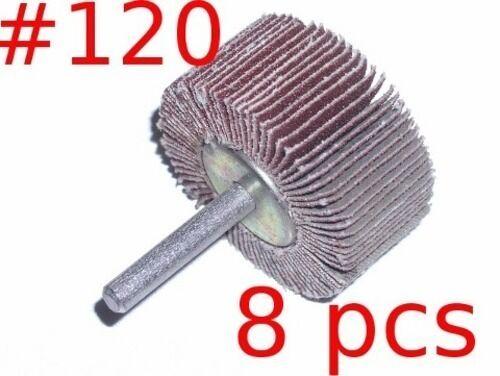 "Mounted Flap Wheels 2/""x 1/"" x1//4/"" mandrel #120 grit 8pcs"