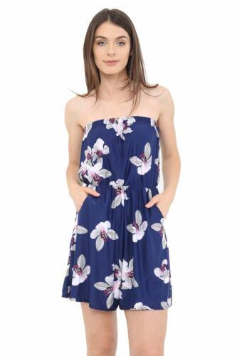 Women Ladies Strapless Playsuit Bandeau Printed Mini Pocket Summer Dress
