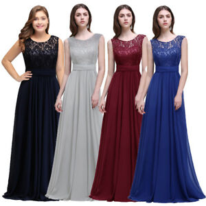 8794935cc75 Image is loading US-Stock-Long-Bridesmaid-Dresses-Chiffon-Lace-Prom-
