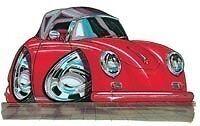 Porsche 356 Speedster cartoon t-shirt 356A 356B 356C T1 florio miglia carrera 4