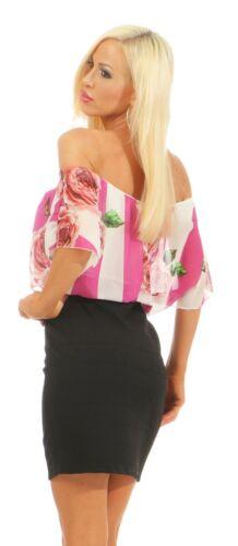 5653 Damen Mini Kleid Party Cocktail Kurzarm Minikleid Carmenstyle Streifen