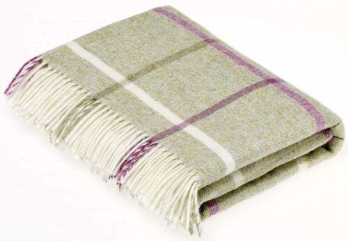 Bronte Windowpane Fern Light Green Pure Shetland Wool Blanket Throw UK Made
