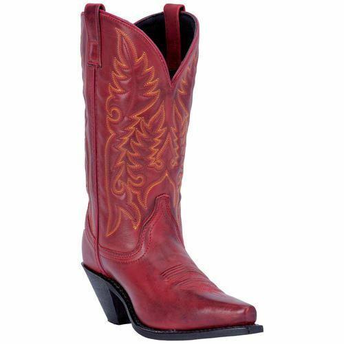 Laredo Women's Madison Western Cowboy Leather Boots Burnished Red 51055