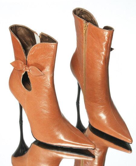 Nuevo Mujeres Cuero Delgada Delgada Delgada Stiletto Bronx Naranja Vestido Bota Puntera Puntiaguda Zapato Talla 10 M  en stock