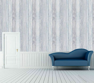 REALISTIC TEXTURED BLUE WASH WOOD EFFECT FEATURE WALLPAPER GRANDECO A17403