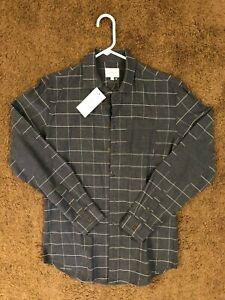 Frank-amp-Oak-Long-Sleeve-Flannel-Shirt-Men-Size-S-Color-Grey