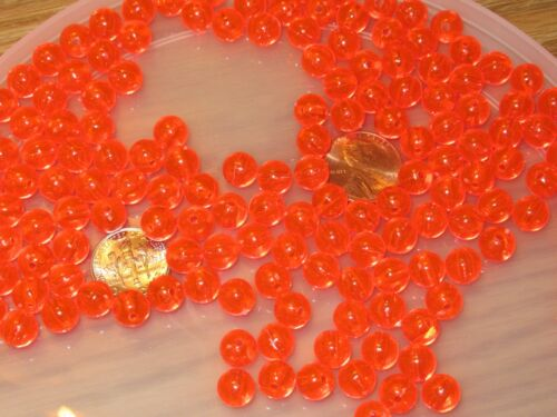 100 8MM ROUND FLUORESCENT RED FISHING BULK BEADS TACKLE RIG HOOK BEAD FISH RIGS